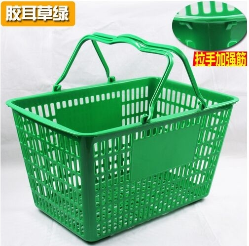 Retail Store Plastic Hand Basket / Supermarket Food Plastic Basket With Handle