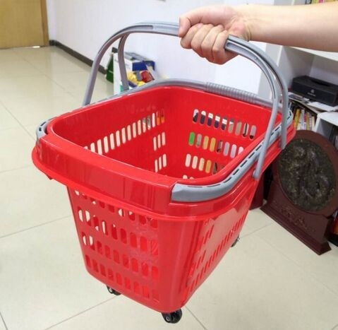 Etonnant Red Rolling Plastic Shopping Trolley Basket / Portable Storage Basket With  Wheels