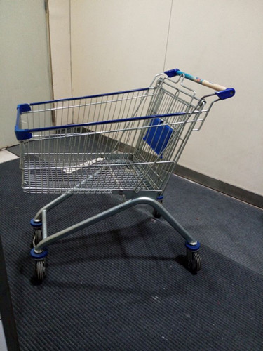 Chrome Plated Iron Wire Shopping Trolley / Movable Store Hand Wire Shopping Cart