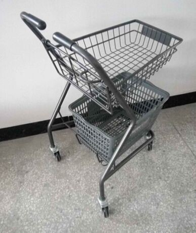 Japanese Style Supermarket Steel Folding Shopping Basket Trolley / Push Cart