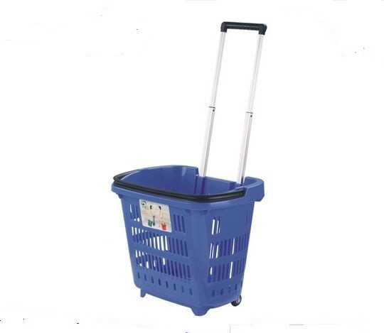 Multi fuctional PP Shopping Basket With Wheels And Handle For Supmermarket