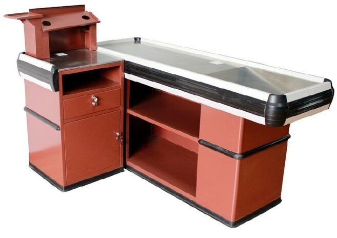 OEM  Metal Supermarket Checkout Counter , Shop Cash Counter Without Belt