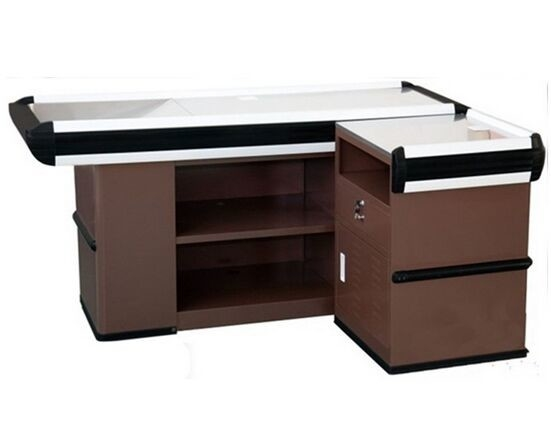 Durable Grocery Store / Supermarket Checkout Counter With Cold Rolled Stainless Steel