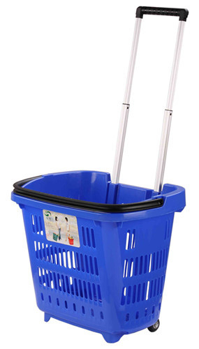 HDPE Hand Plastic Rolling Shopping Basket With Wheels For Supmermarket 25KG Capacity