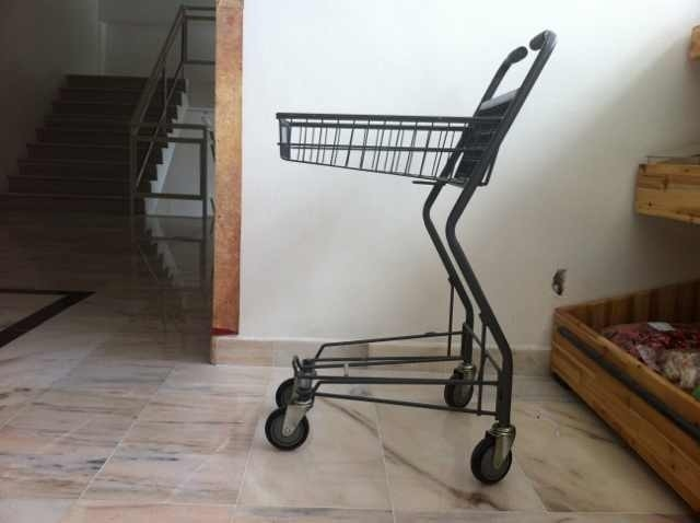 Japanese Metallic Supermarket Shopping Trolley / Grocery Cart With Wheels