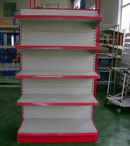 Steel Backplane Style Single / Double Sided Store Supermarket Shelf Wall Rack