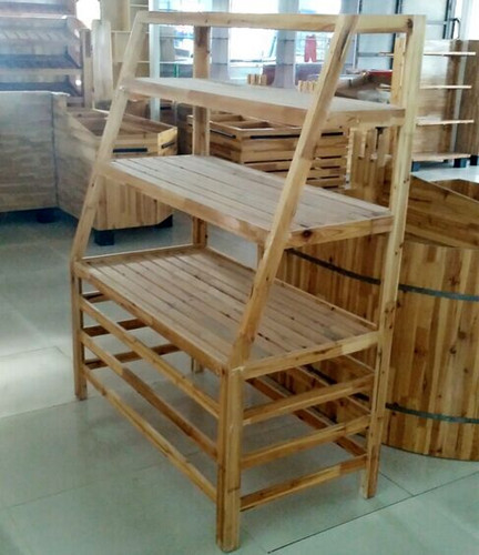 Wooden Bakery Shop Storage Shelving / Slatwall Display Rack For Supermarket