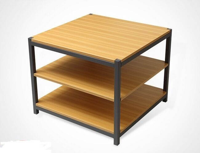 Disassembly Shop Wooden Retail Display Shelves With Melamine / Wood Steel Promotion Desk
