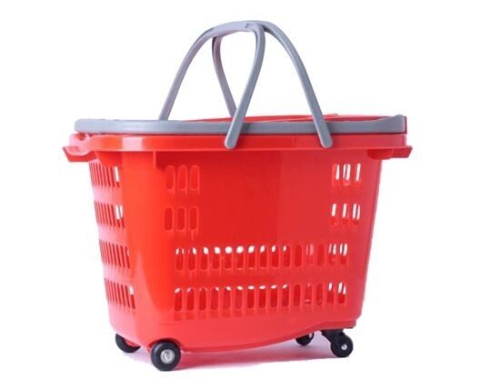 Storage Rolling Shopping Plastic Trolley Baskets With Wheels And Handles