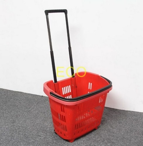 Polypropylene Supermarket Plastic Handy Shopping Basket With Wheels SGS ISO9002