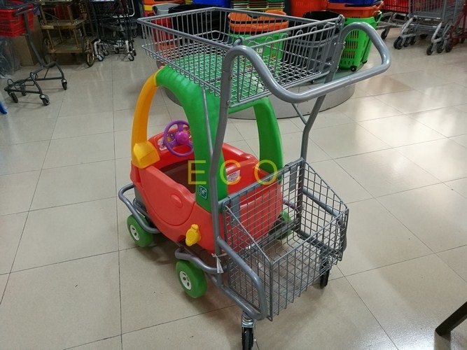 Powder Coating Plastic Basket Cartoon Kids Shopping Carts with PU Wheel