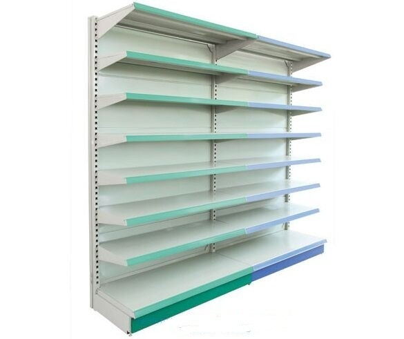 Wall Gondola Supermarket Display Shelving / Heavy Duty Display Single Sided Metal Shelf