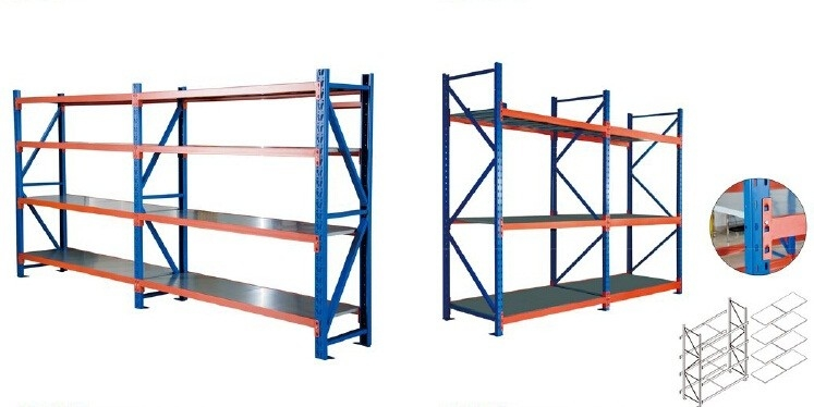 Blue And Orange Industrial Warehouse Storage Racks Vertical Adjustable Pallet Racking System