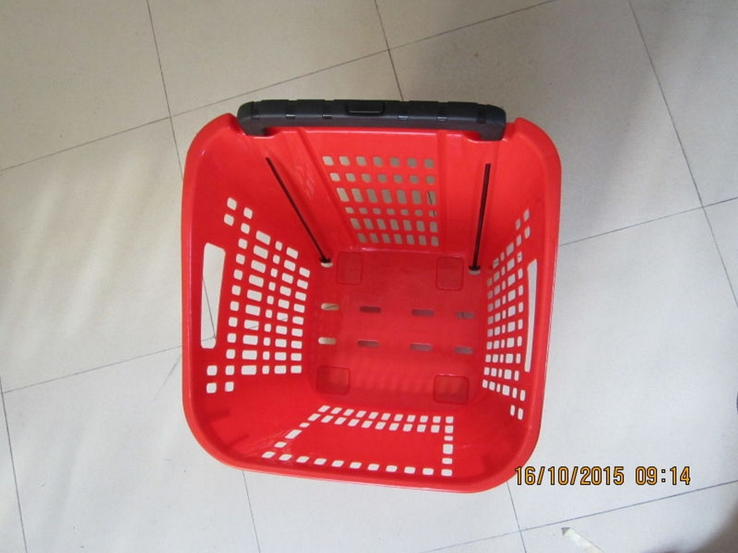 Supermarket PP Rolling Shopping Basket / Cart with Four Wheels