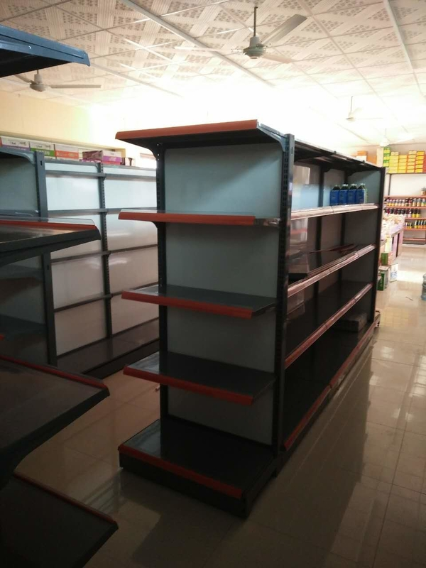 Metal Island Supermarket Display Shelving Gondola Retail Storage Shelf For Shop