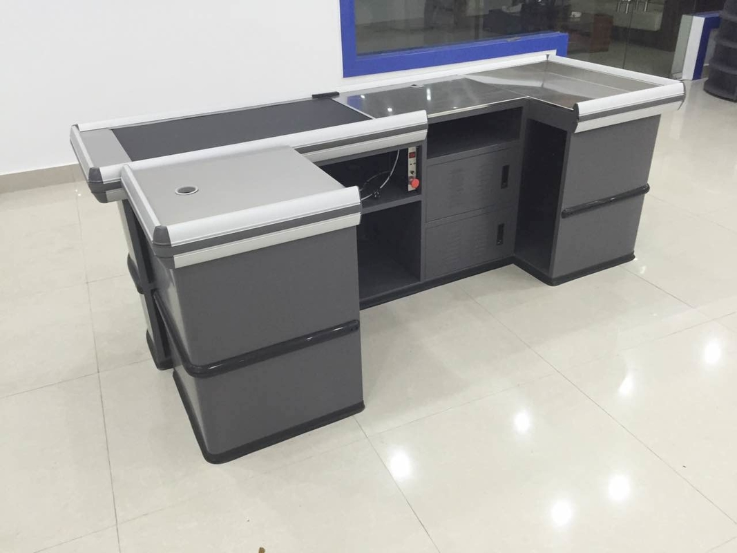 Gray Conveyor Belt Checkout Counter for Supermarket Shop Automatic Retail