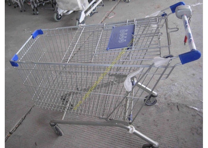 Silver Epoxy Coating Steel Bar Metal Supermarket Cart / Coin Lock Shopping Trolley