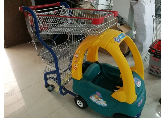 Plastic / Steel Supermarket Children Shopping Cart , Baby Shopping Trolleys