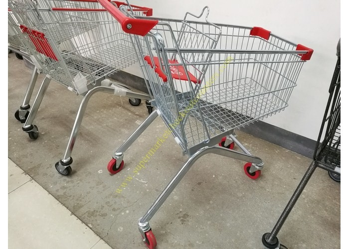 Removable Wheeled Supermarket Shopping Cart / Steel Wire Carts With PVC Wheels