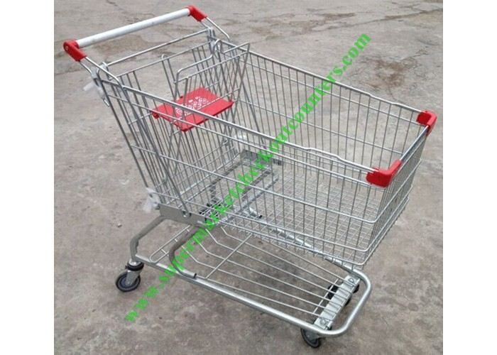 American Style Supermarket Shopping Wire Cart / Customized Carbon steel Hand Trolley