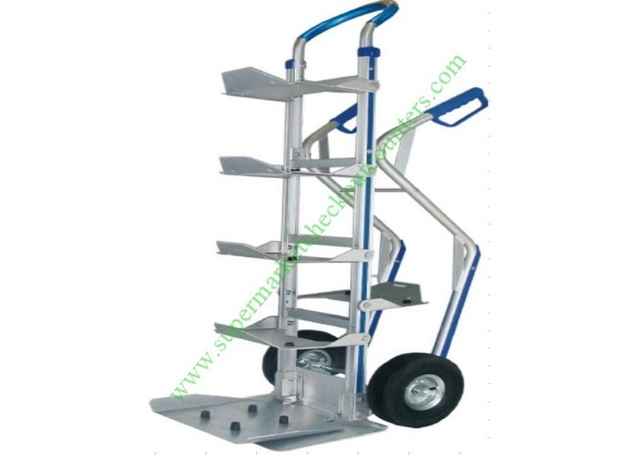 Aluminum Bottled Water Tray Wire Shopping Trolley , Heavy Duty Foldable Hand Truck With Wheels