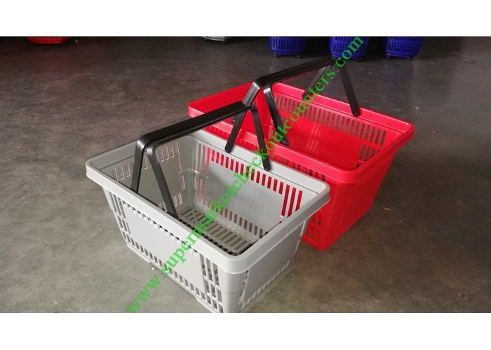 Supermarket PP Plastic Hand Shopping Basket With Double Flat Hand