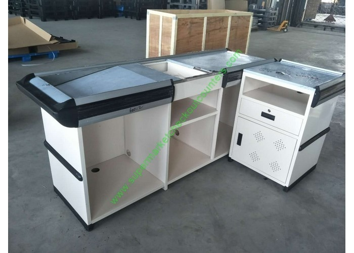 Supermarket  Counter Desk Cold Rolled Steel Shop Furniture Cashier Desk