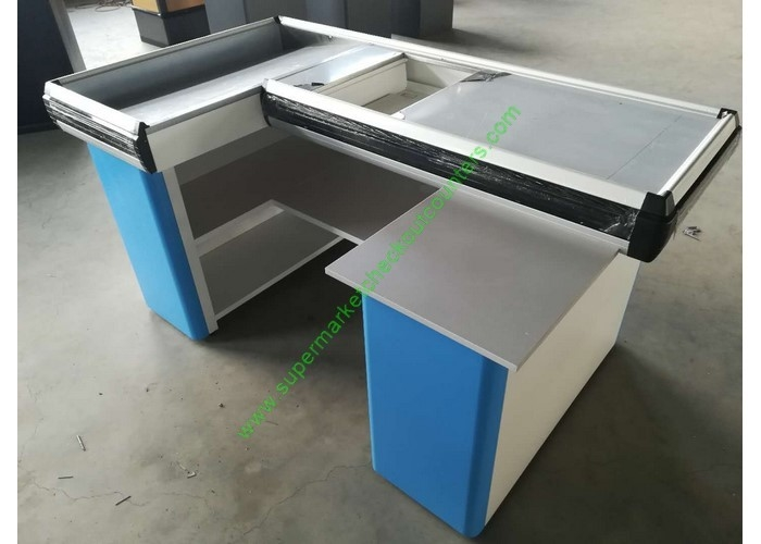 Custom-made Steel Shop Cashwrap / Cash Desk And Table For Supermarket