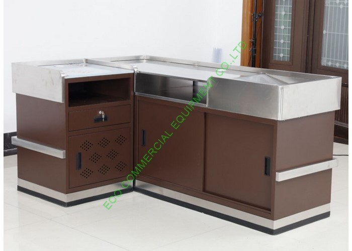 Grocery Store Checkout Cash Register Wrap Counter Steel Coffee Reception Counter Desk