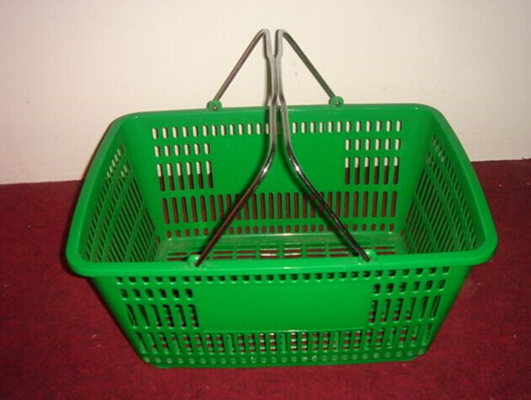 China Green 32 Litres Hand Shopping Basket , Supermarket Wire Grocery Basket Metal Handle distributor
