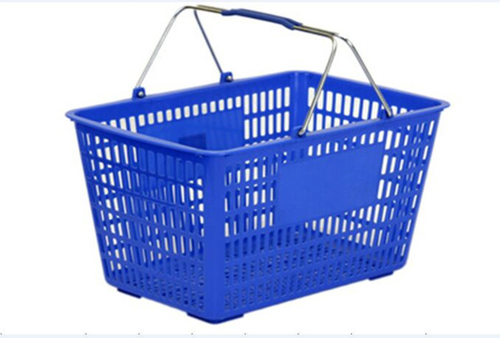China Blue Flexible Hand Shopping Basket Metal Handle Plastic Grip Light weight distributor