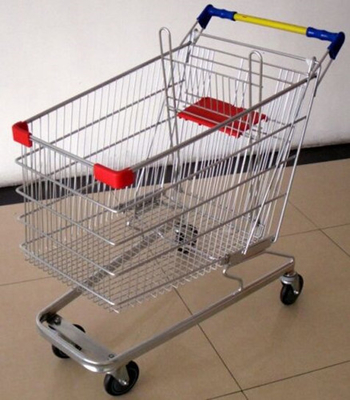 China 100 Liters Supermarket Shopping Cart Multifuntional Wire Trolley With Wheels Germany Type distributor