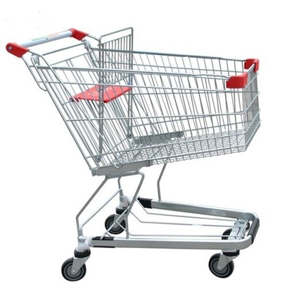 China Unfolding Grocery Store Shopping Carts Four Swivel Wheels Zinc Plated distributor