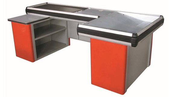 China Grocery Store / Supermarket Conveyor Belt Checkout Counter With Cold Rolled Steel Material distributor