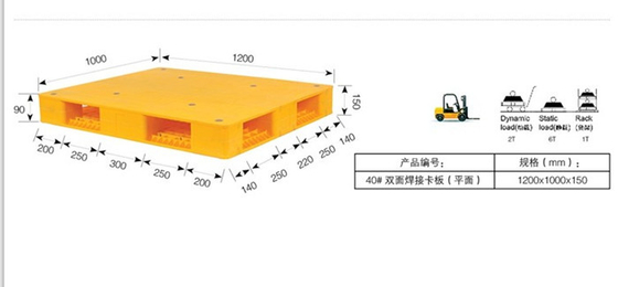 China Logistic Double Side Heavy Duty Plastic Pallets Rack Parts With 6 T Pallet Rack Capacity 1200 * 1000 * 150 mm distributor