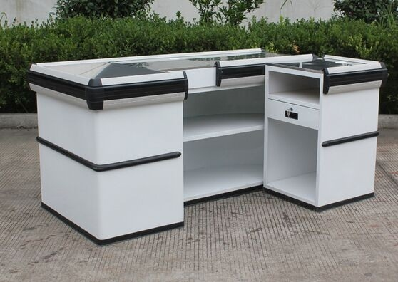 Convenience Store / Supermarket Checkout Counter , Stainless Steel Retail Cash Wrap Counter