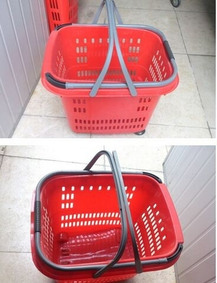 China Duralumin Pull Rod Virgin Plastic Rolling Trolley Shopping Basket With Wheels For Shopping Malls distributor