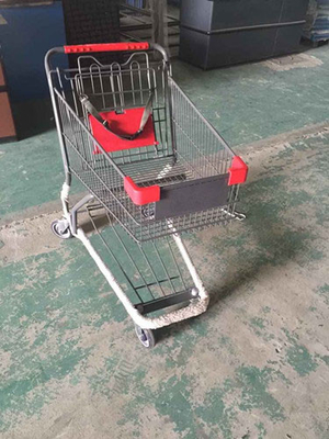 China Coated Metal Steel Grocery Store Powder Shopping Trolley With 4 Wheel , SGS / ISO9002 distributor