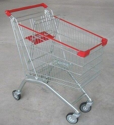 China Wire Steel Store4 Wheel Shopping Trolley / Retail Hand Push Wheeled Shopping Basket distributor