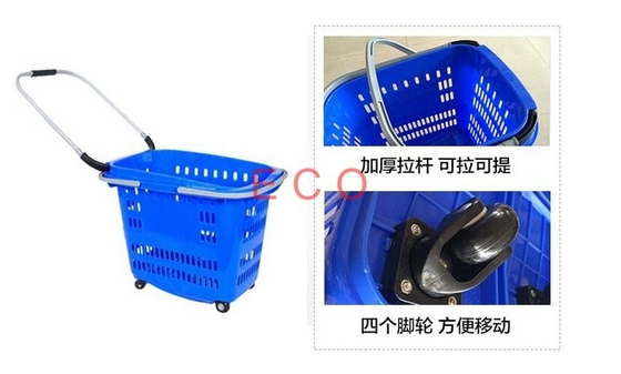 China Unfolding Movable Grocery Shopping Basket With Wheels , Retail Plastic Baskets With Castors distributor