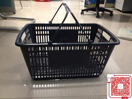 Retail Store Plastic Shopping Basket With Handle Grip / Food Shopping Cart
