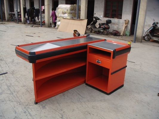 Retail Cash Supermarket Checkout Counter For Store And Shops / Supermarket Steel Checkstand