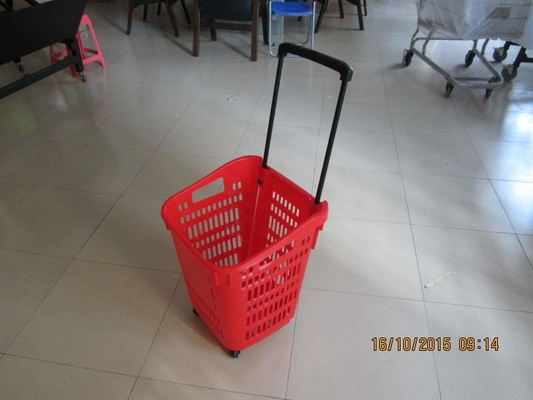 Red Plastic Rolling Basket Cart For Supermarket /  Vegetable Shopping Basket