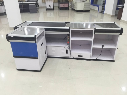China Full Metal Supermarket Conveyor Belt Checkout Counter Cashier Currency Desk Checkout Counter distributor