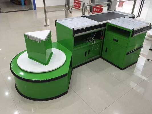 Custom Automatic Checkout Counter With Shopping Bag Hook / Supermarket Cashier Desk