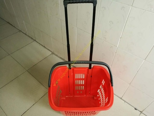 China Plastic Drawer Shopping Basket With Wheels / Extendable Handle For Grocery distributor
