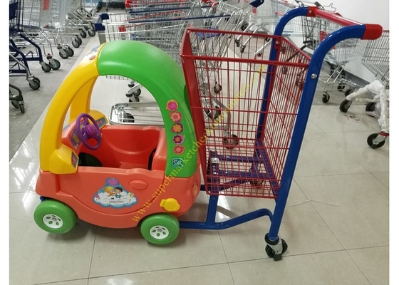 China Unfolding Supermarket Metal Shopping Trolley , Kids Shopping Cart With Plastic distributor
