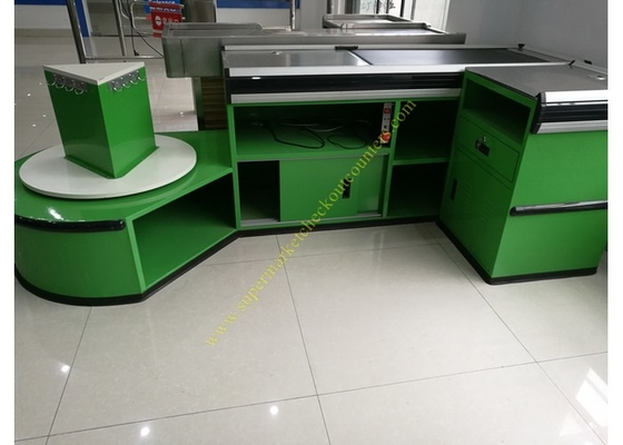 China Checkout Counter With Sensor Conveyor Belt / Cashier Desk Stand For Store distributor