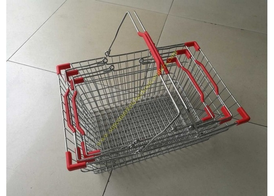 China Steel Chrome Plated Supermarket Metal Wire Hand Held Shopping Baskets With Double Handles distributor