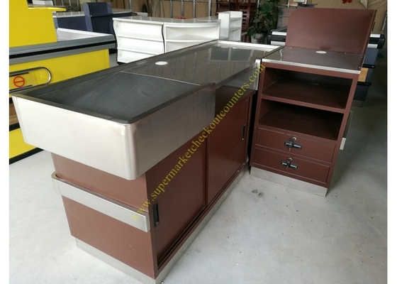China OEM Supermarket Checkout Counter / Stainless Steel Cash Register Table distributor